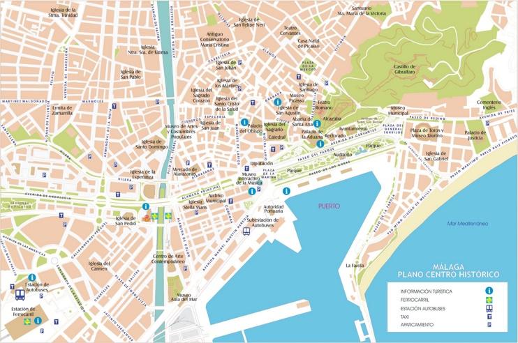 Map Of Spain Showing Malaga.Malaga Street Map