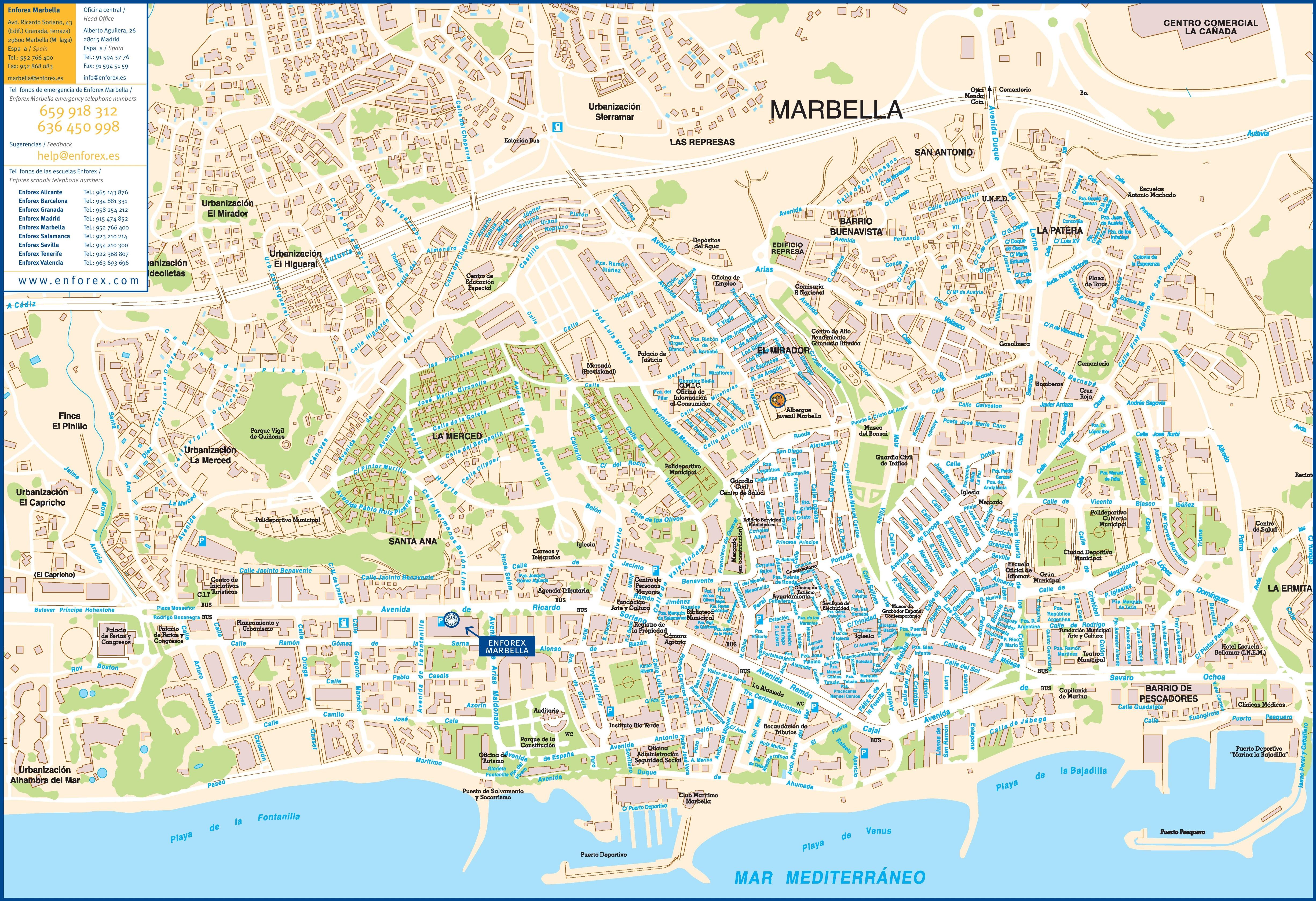 marbella mapa Marbella tourist map  marbella mapa