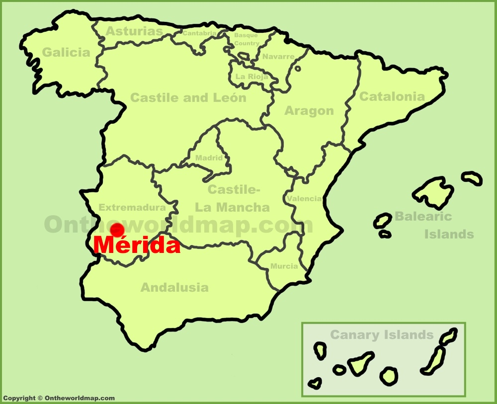 Mrida location on the Spain map