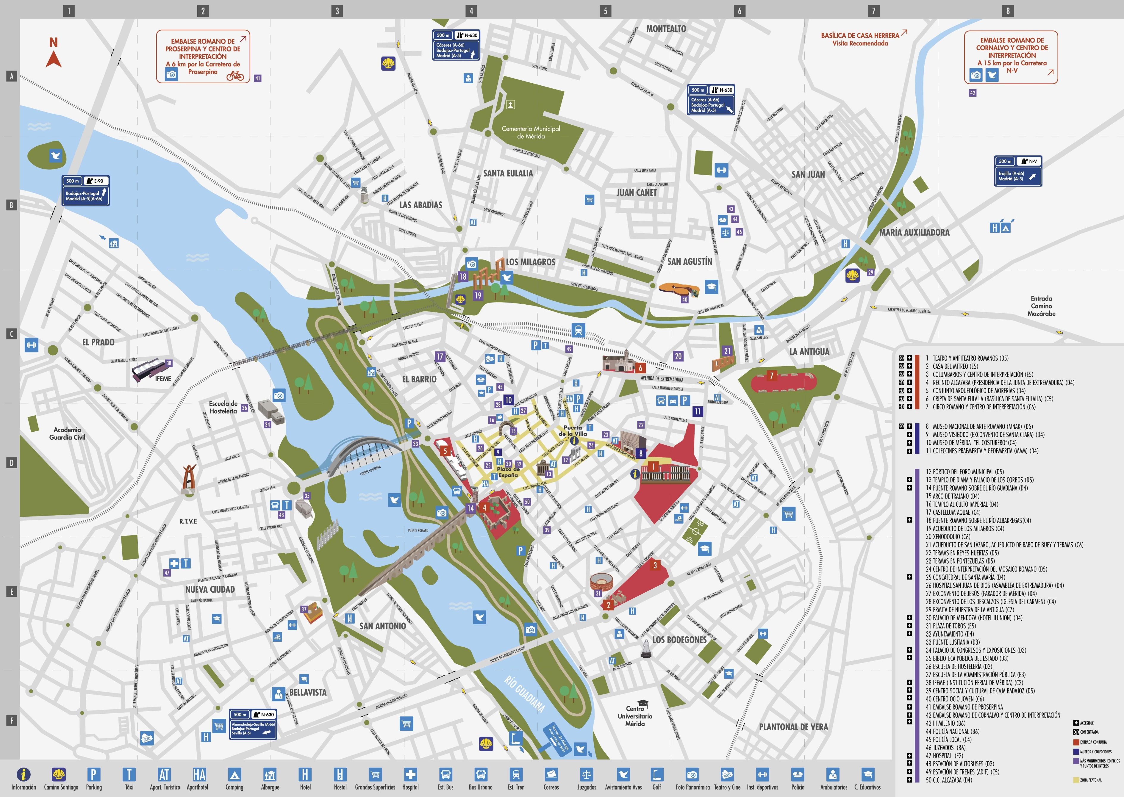 Map Of Spain For Tourists.Merida Tourist Map