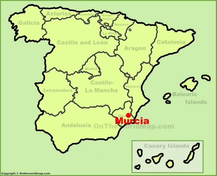 Murcia location on the Spain map