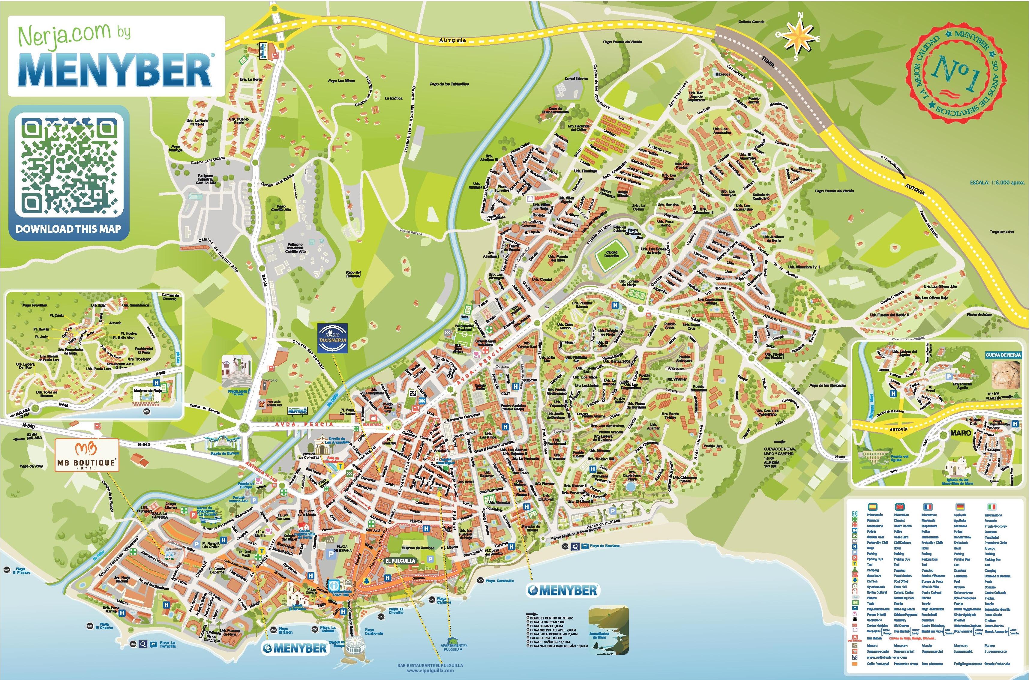 Map Of Nerja Nerja hotels and sightseeings map Map Of Nerja