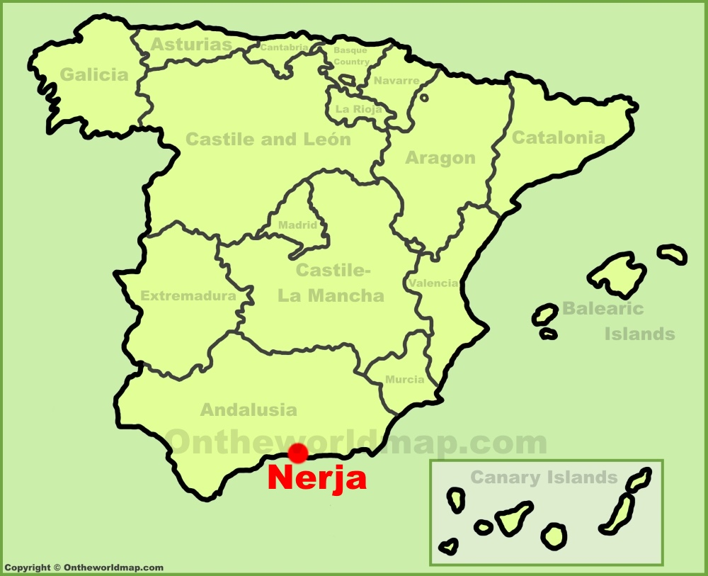 Nerja location on the Spain map
