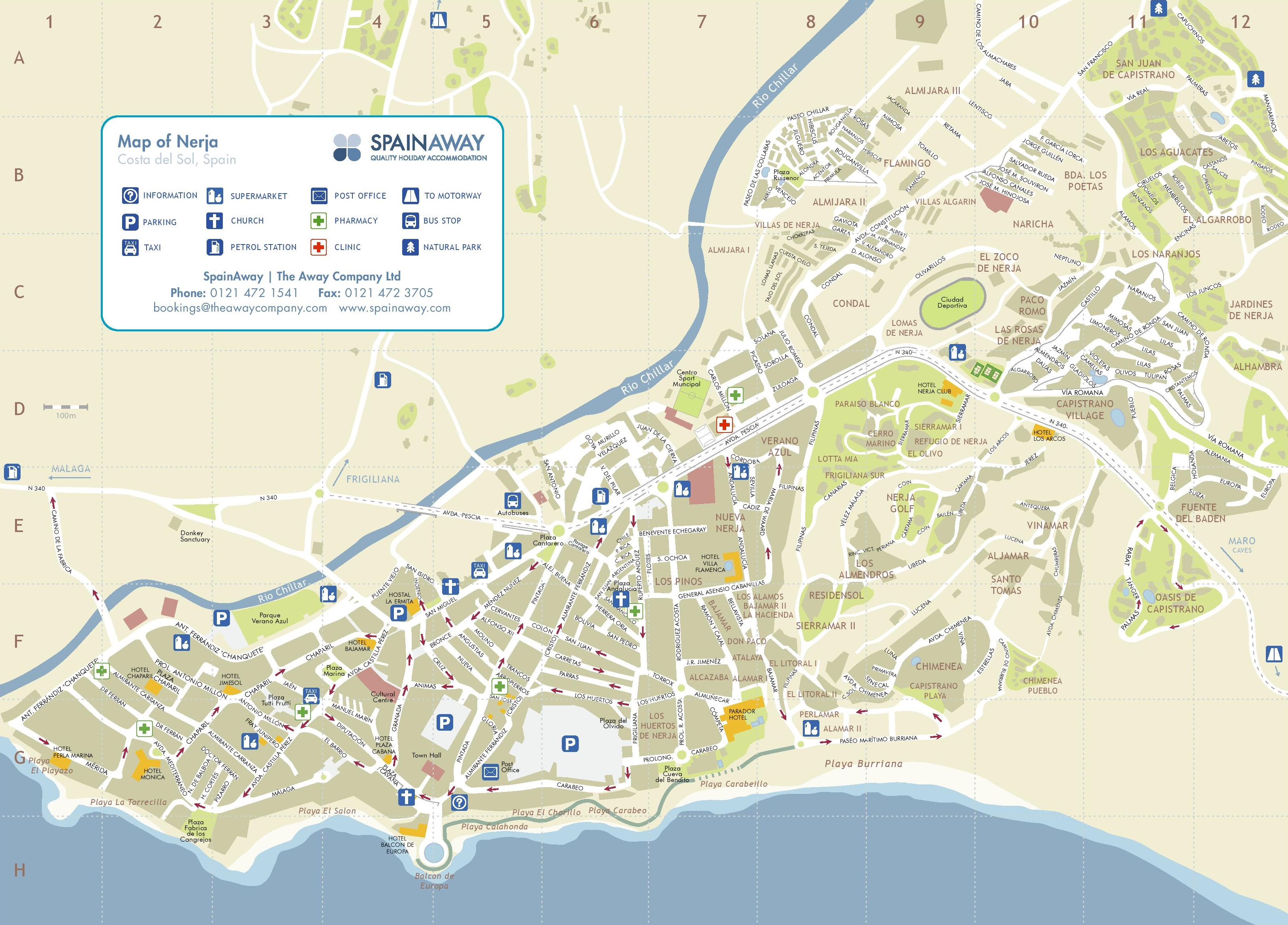 Map Of Spain For Tourists.Nerja Tourist Map
