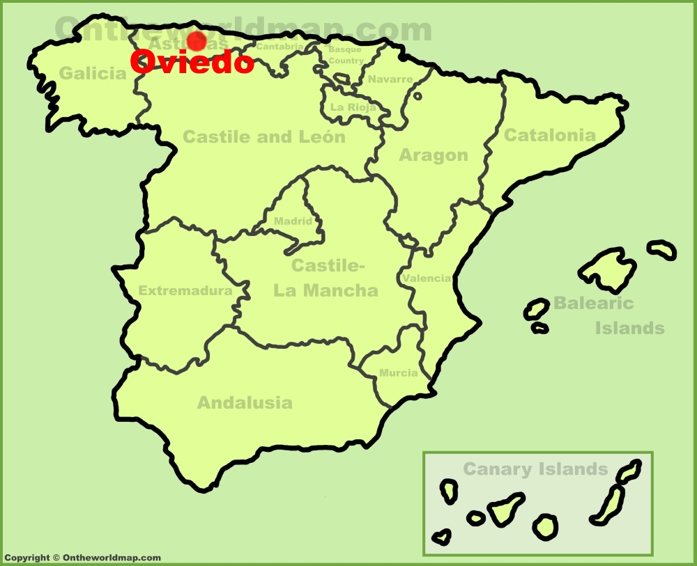 Oviedo location on the Spain map