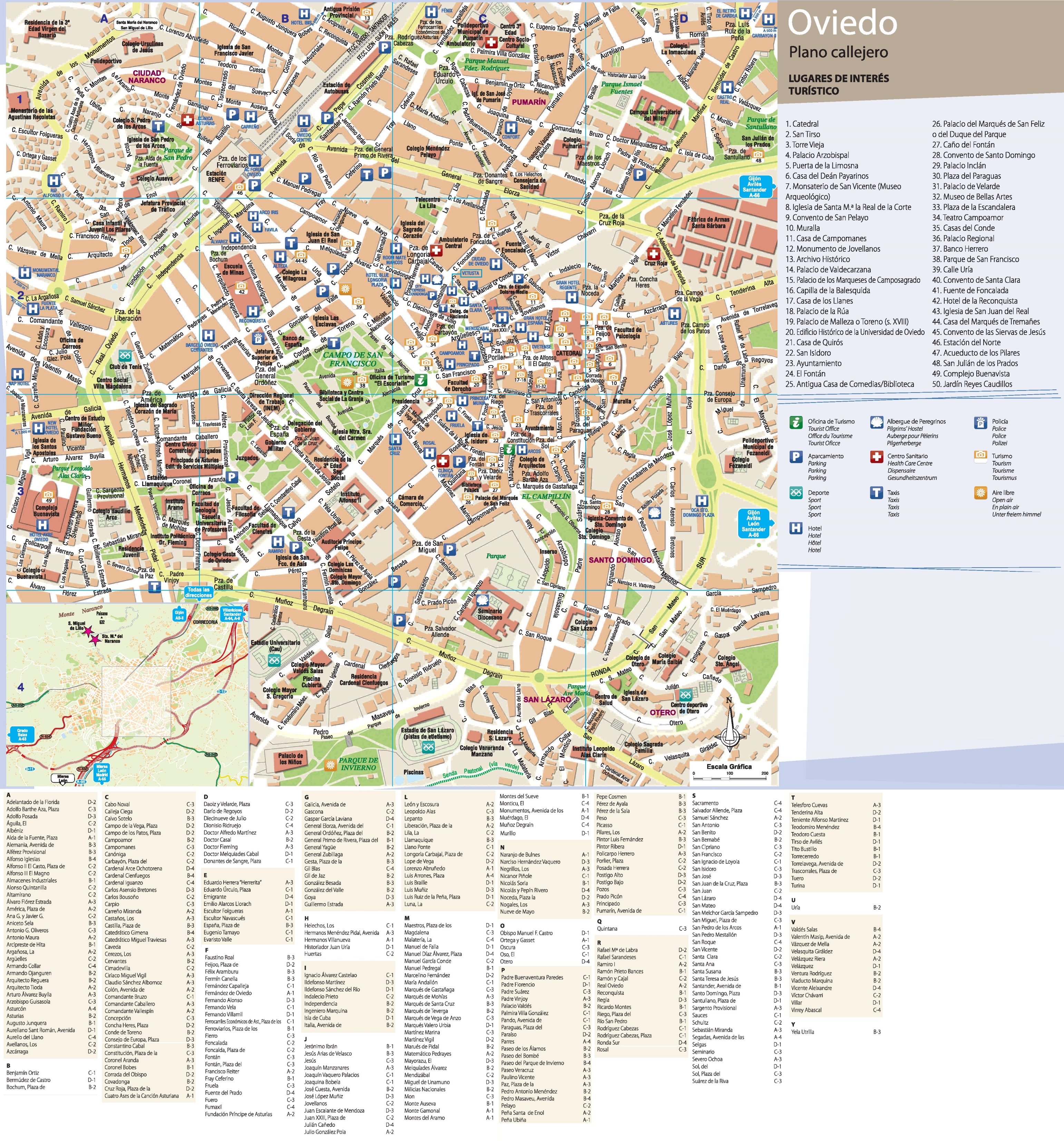 Oviedo tourist map