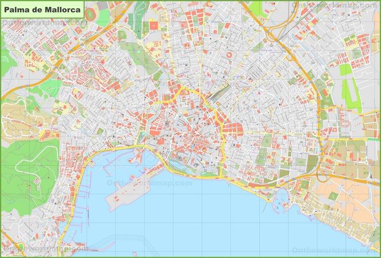 Gran mapa detallado de Palma de Mallorca