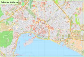 Large detailed map of Palma de Mallorca
