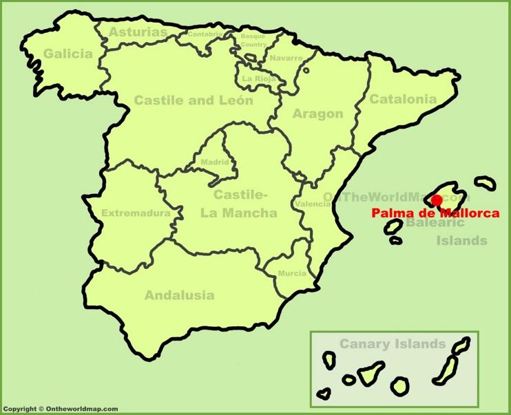 Palma de Mallorca en el mapa de España