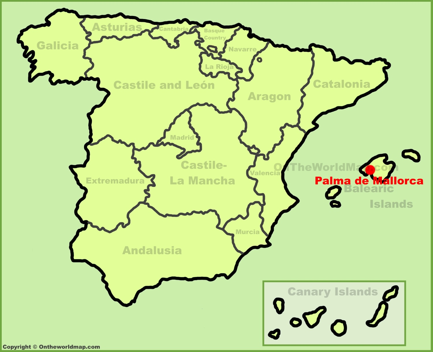 Palma De Mallorca Location On The Spain Map
