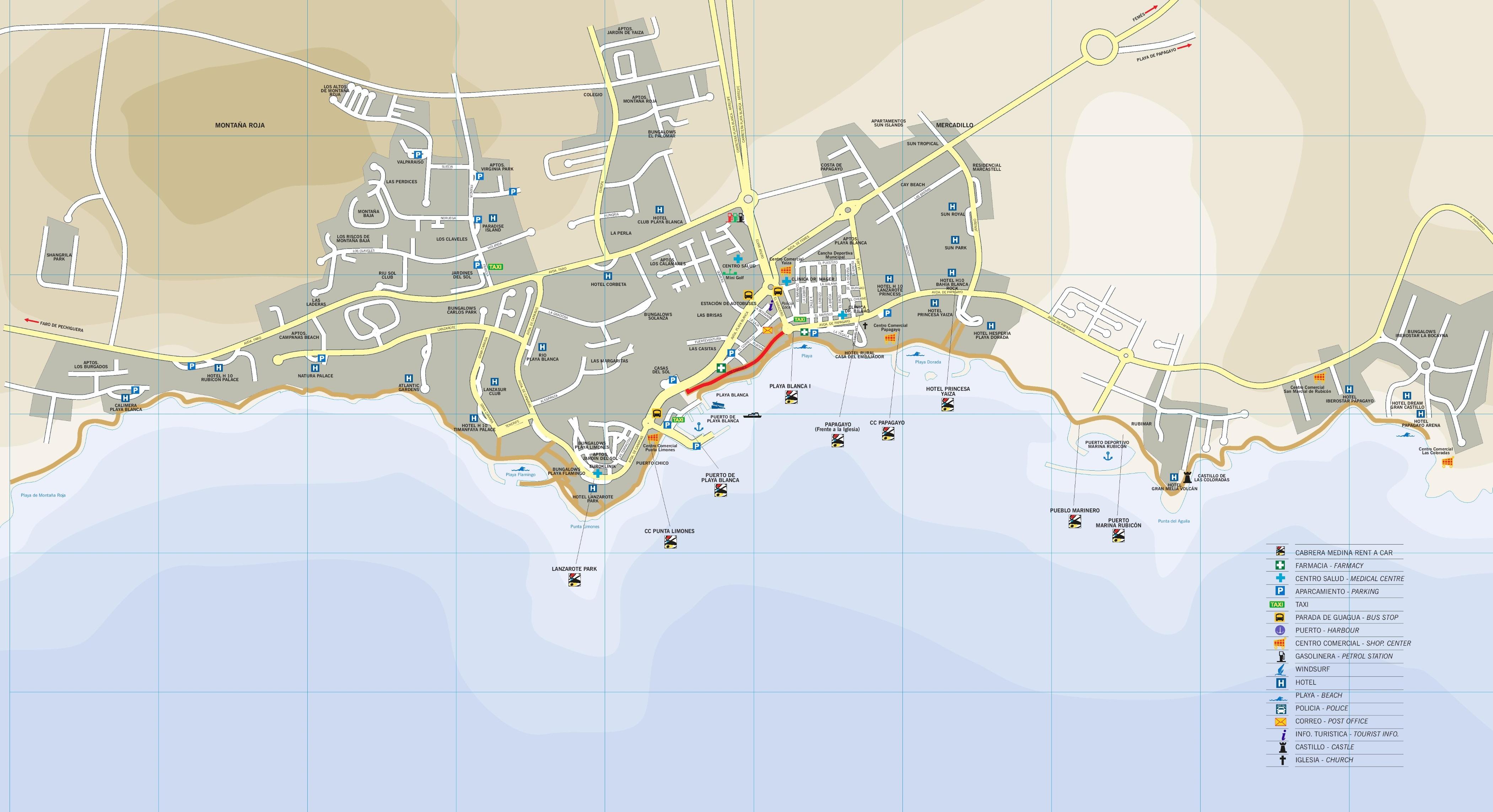 Playa Blanca tourist map