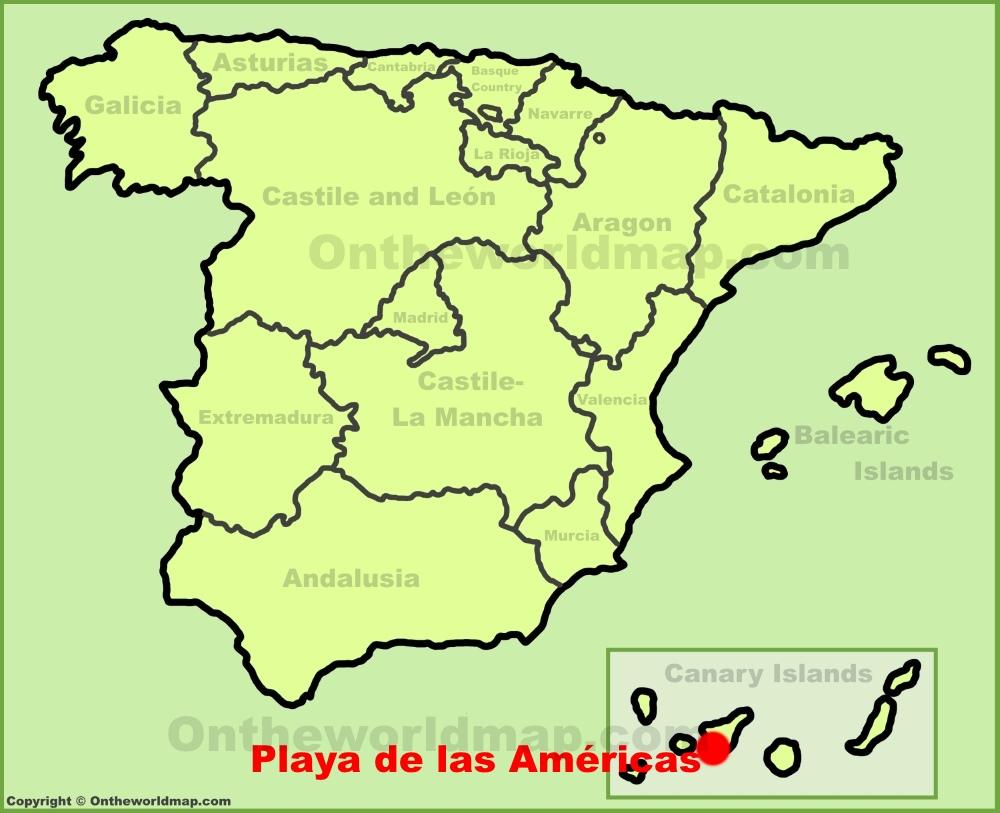 Playa de las Am ricas location on the Spain map