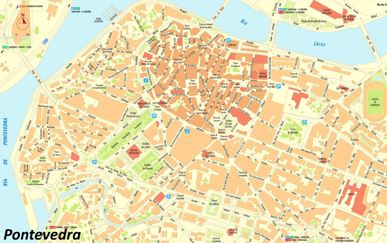 Mapa De Pontevedra Ciudad.Pontevedra Mapa Turistico