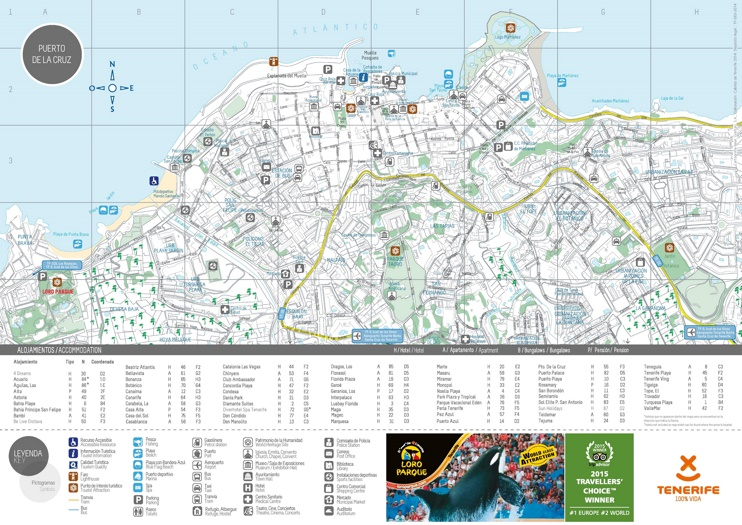 Puerto de la Cruz hotels and sightseeings map
