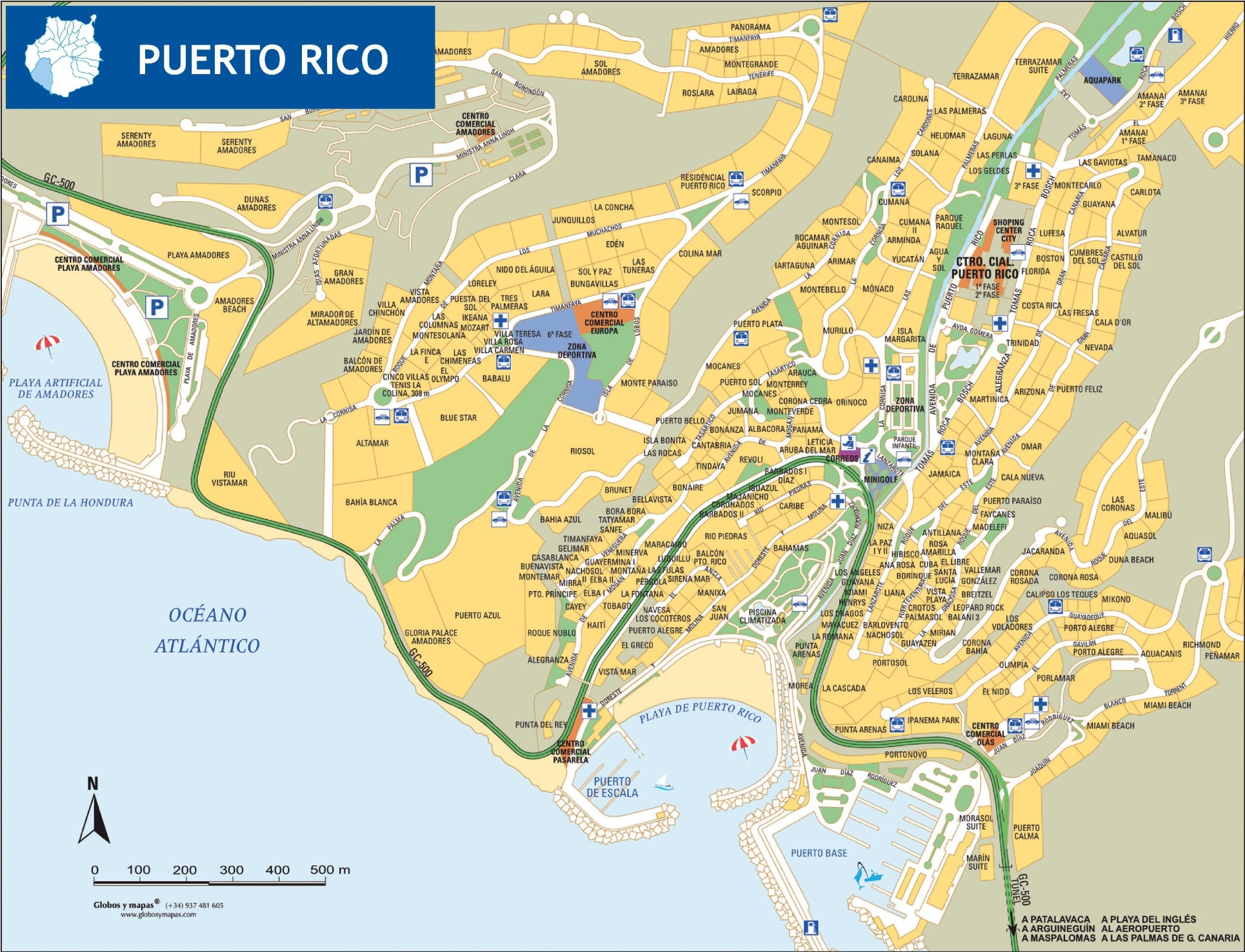 Map Of Spain Gran Canaria.Puerto Rico De Gran Canaria Tourist Map