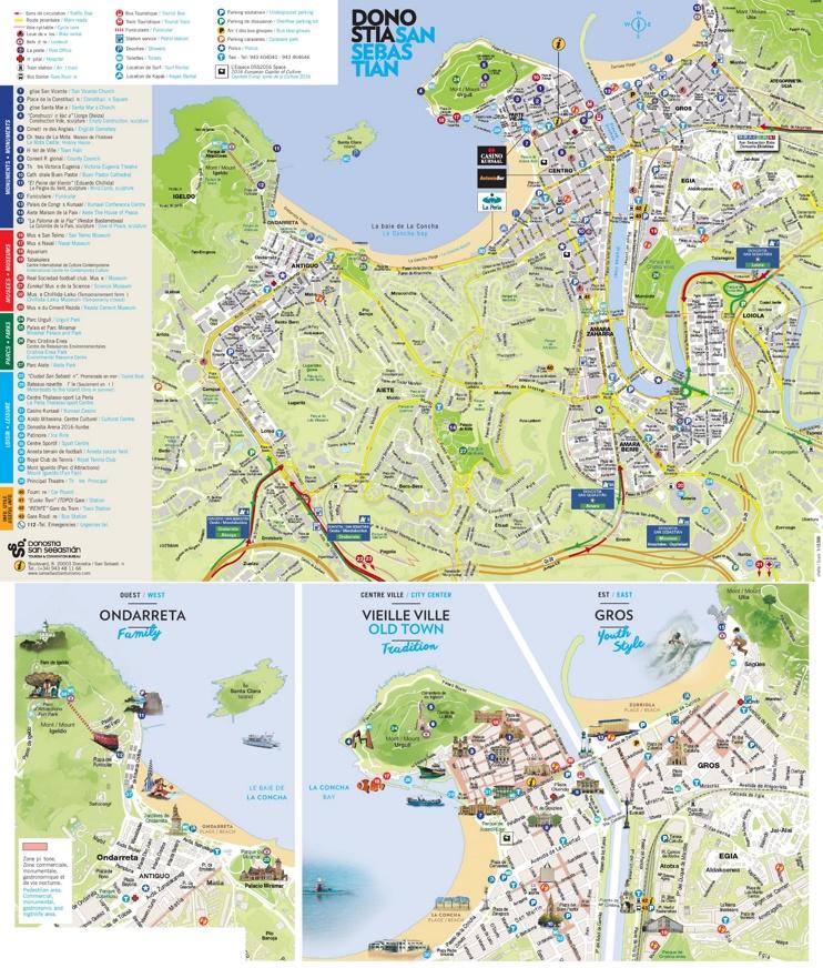 San sebasti n tourist map - San sebastian tourist office ...