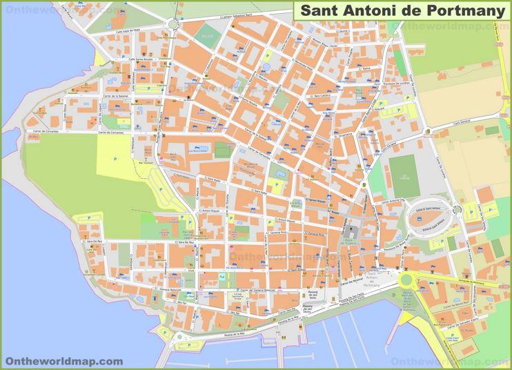 Detailed Hotel Map of Sant Antoni de Portmany