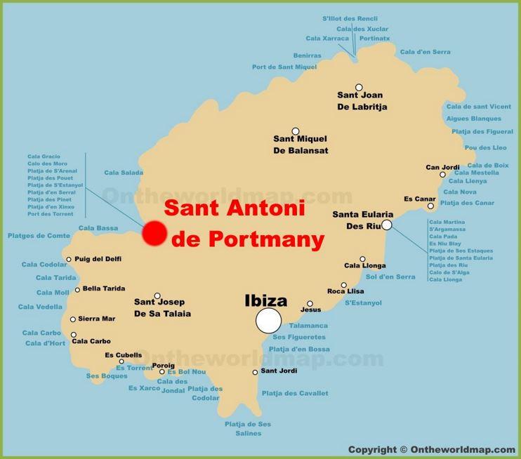 Sant Antoni de Portmany Location On The Ibiza Map