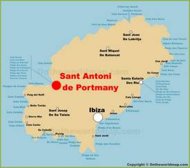 Sant Antoni de Portmany Location On The Ibiza Map