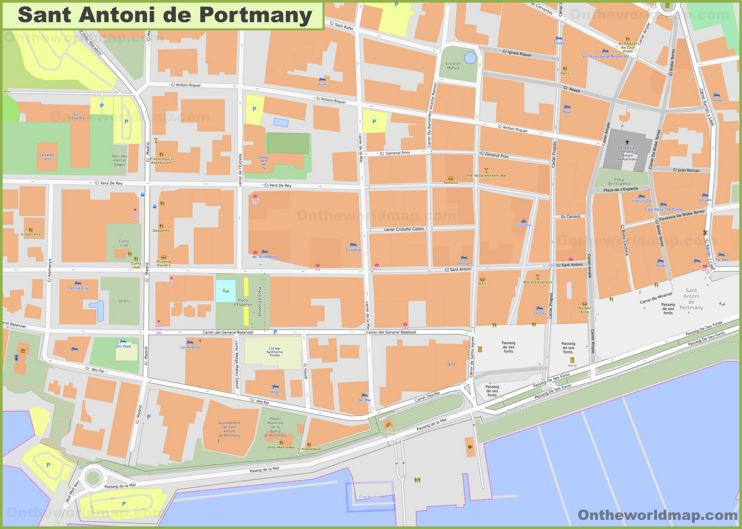Sant Antoni de Portmany Town Center Map