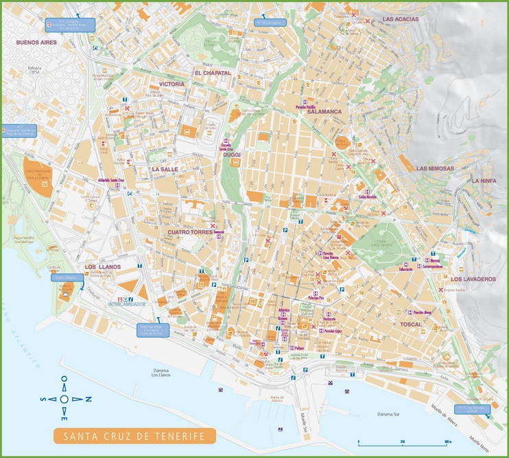 Santa De Tenerife Hotels And Sightseeings Map - Atelyeteknoloji.com