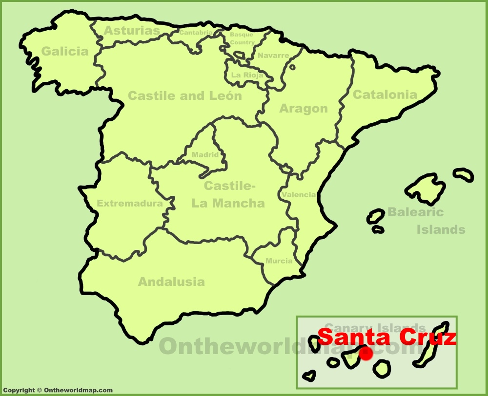 Santa Cruz de Tenerife location on the Spain map