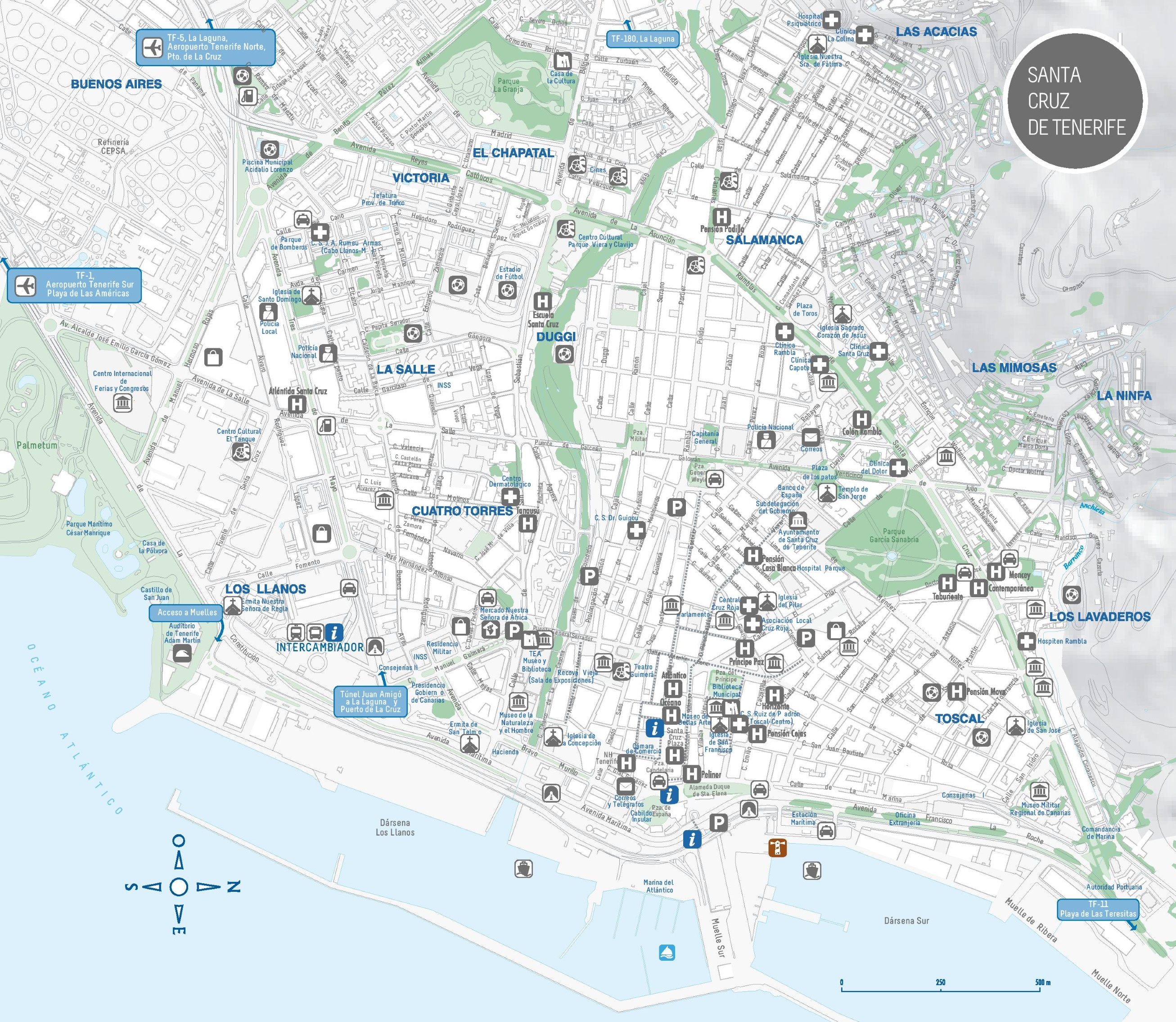 Santa Cruz de Tenerife sightseeing map
