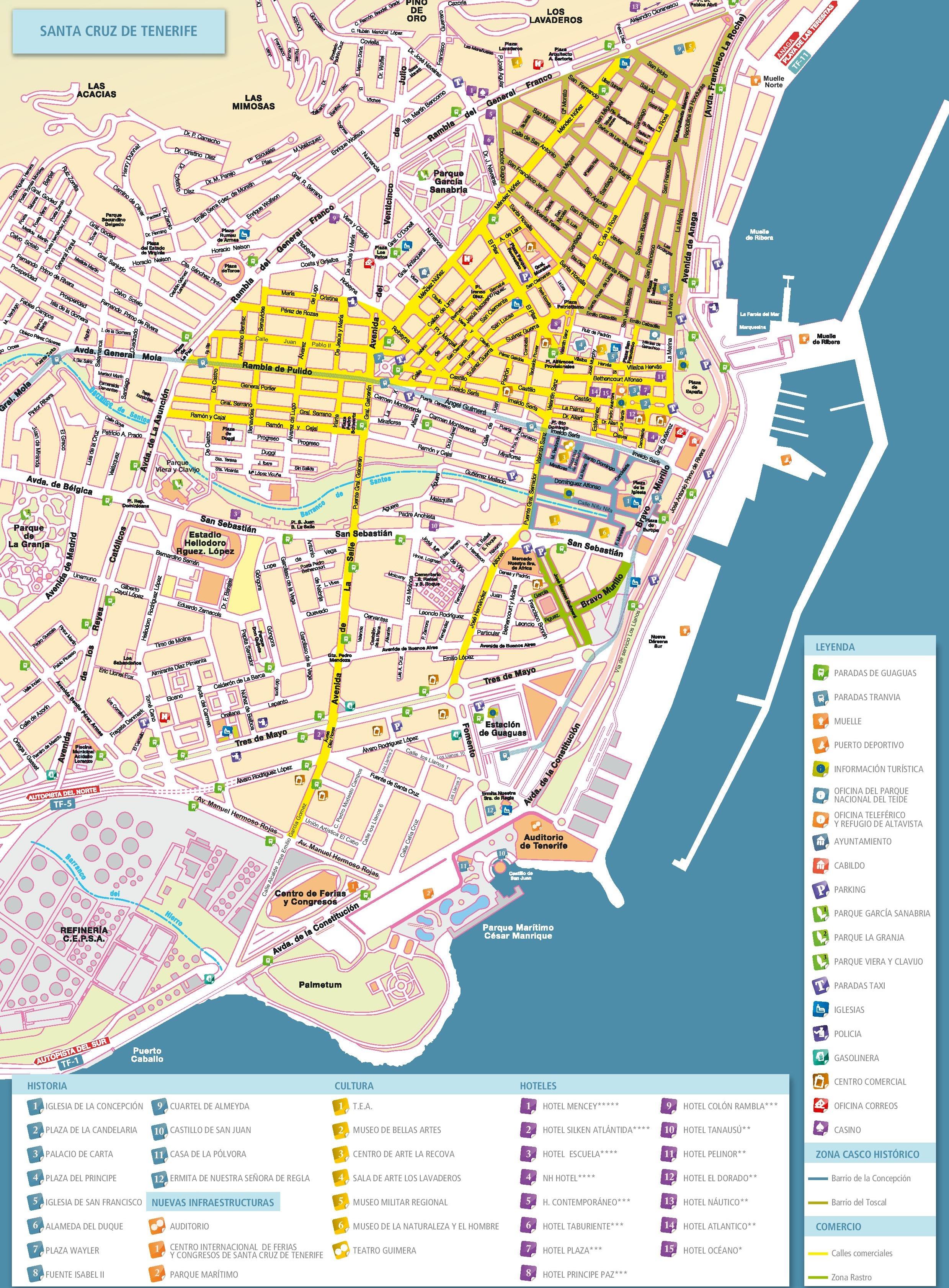 Maps Santa Cruz Santa Cruz de Tenerife tourist map
