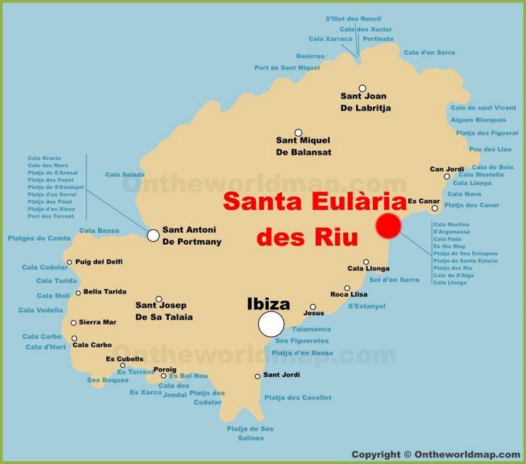 Santa Eulària des Riu Location On The Ibiza Map