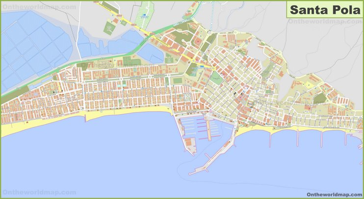 Detailed map of Santa Pola