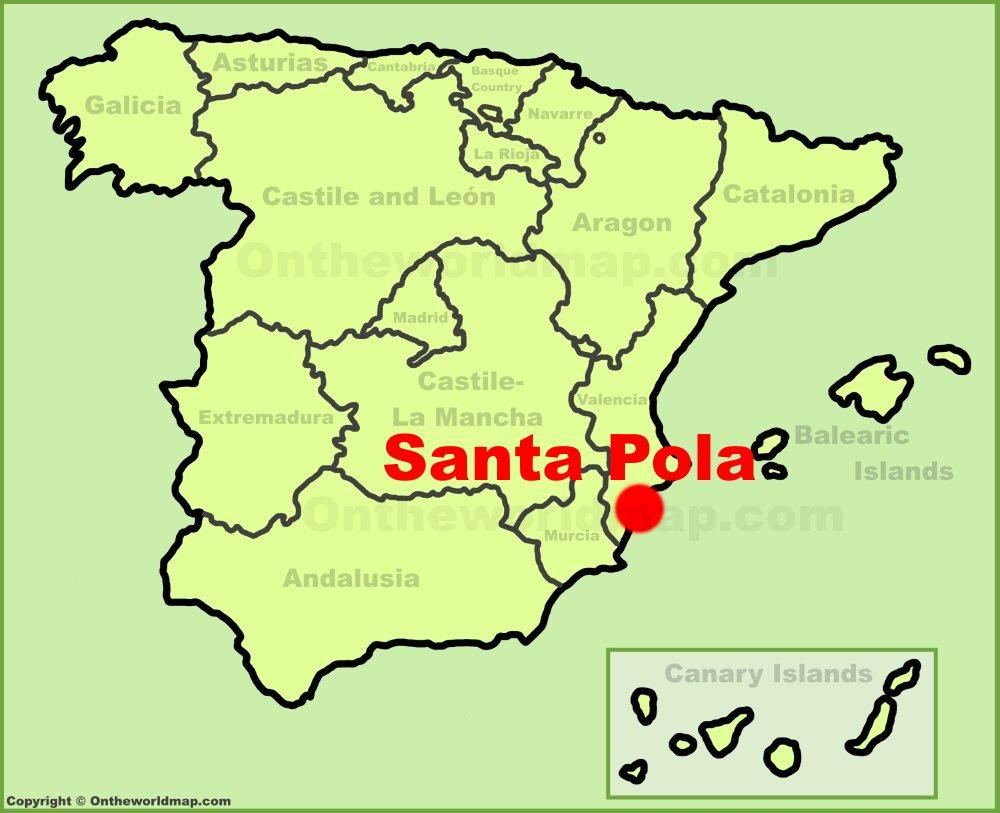 Mapa De Santa Pola.Santa Pola En El Mapa De Espana