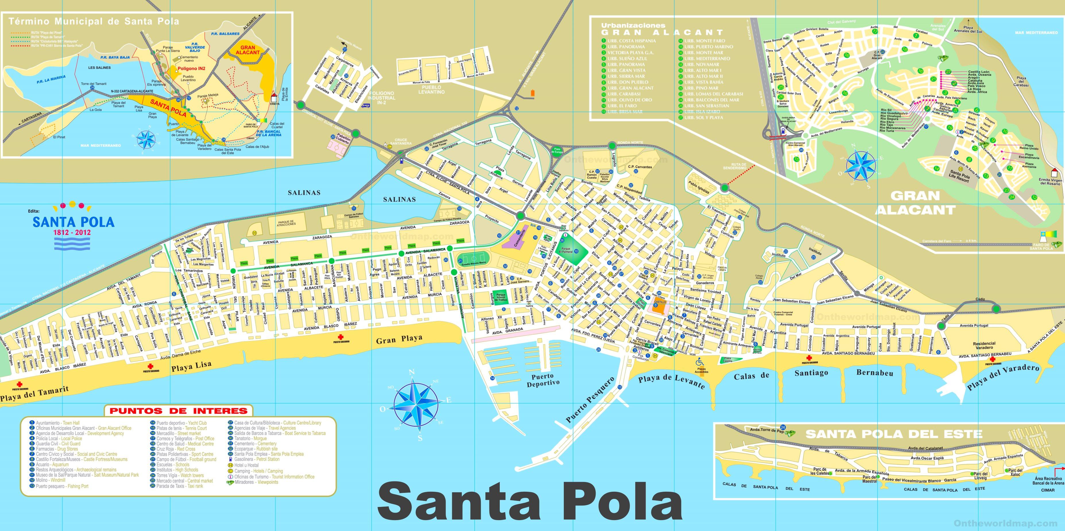 Mapa De Santa Pola.Santa Pola Mapa Turistico