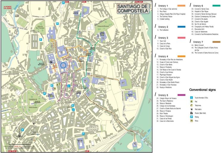 Santiago de postela city center map