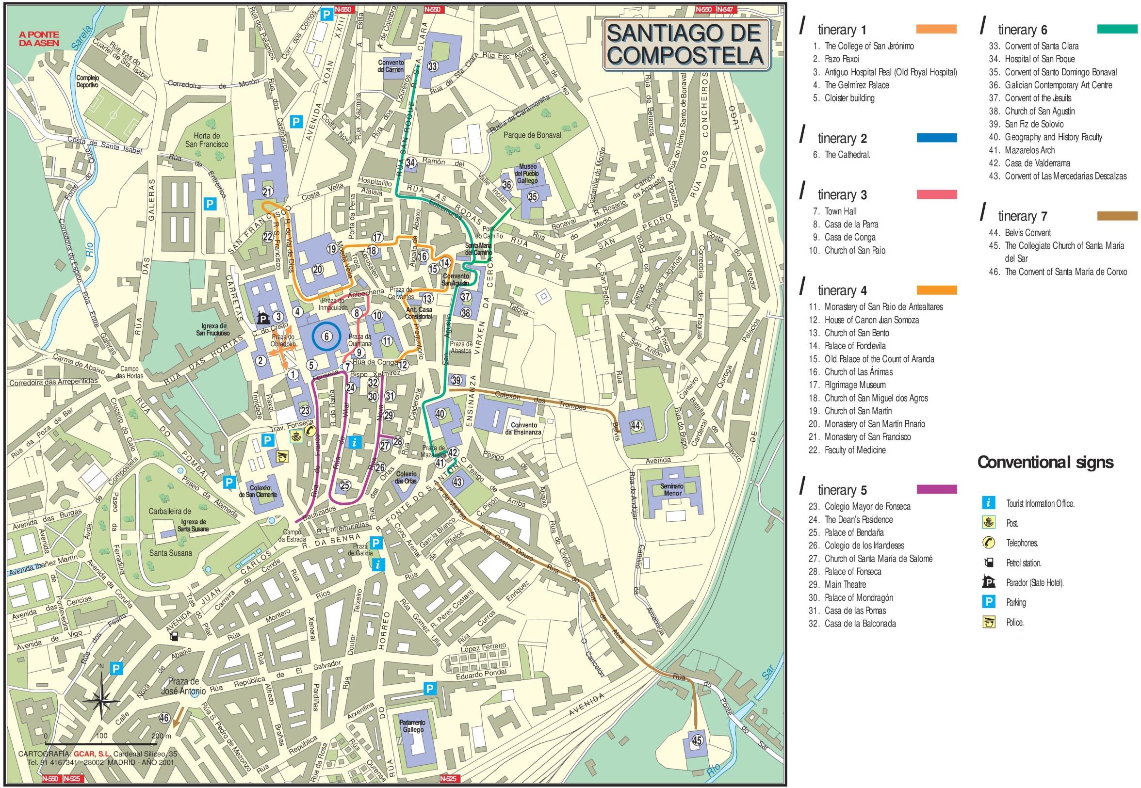 Santiago de Compostela city center map