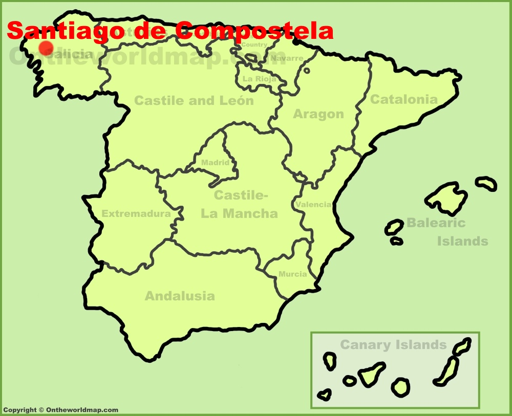 Santiago de Compostela location on the Spain map