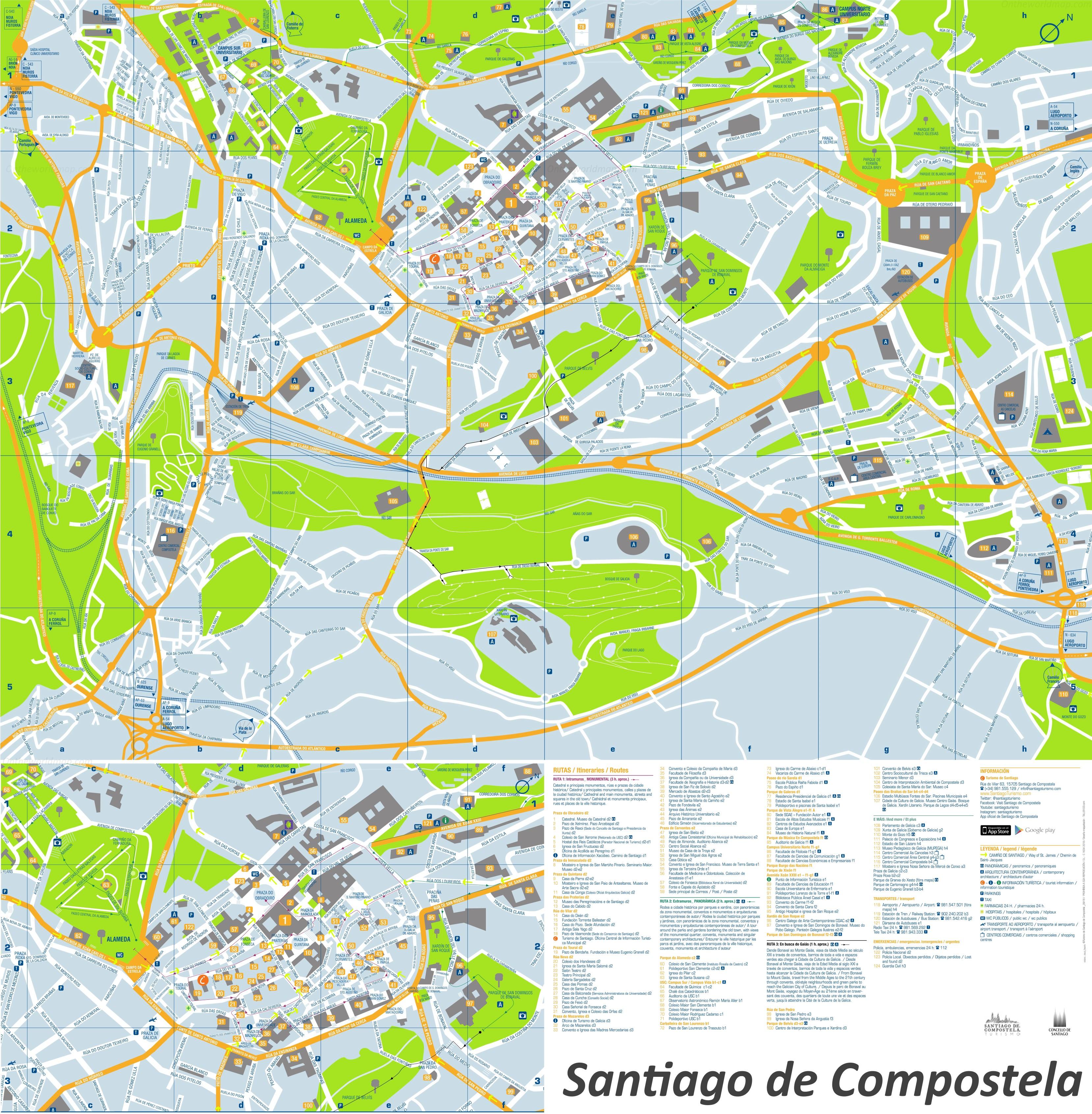 Santiago de Compostela tourist attractions map
