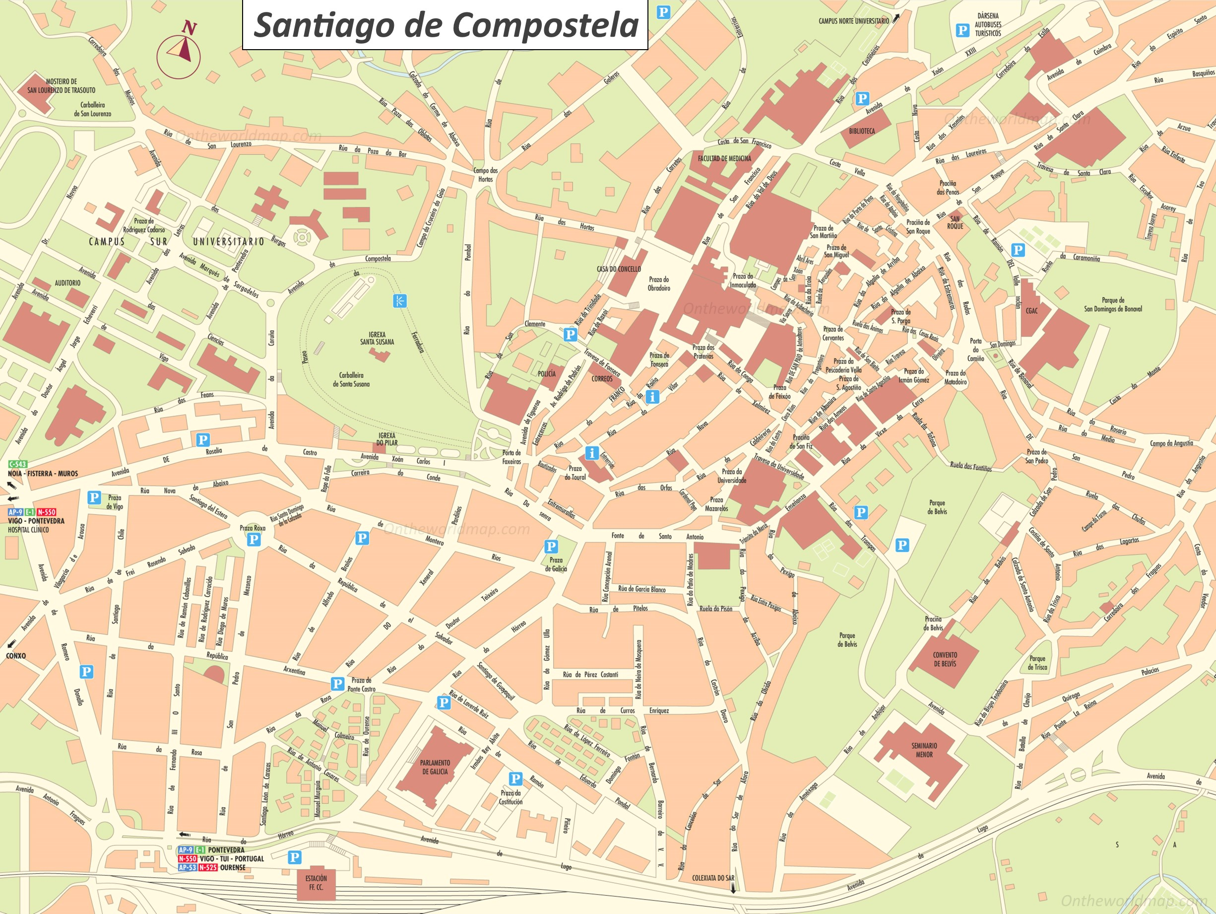 Map santiago de compostela GALICIA GUIDE