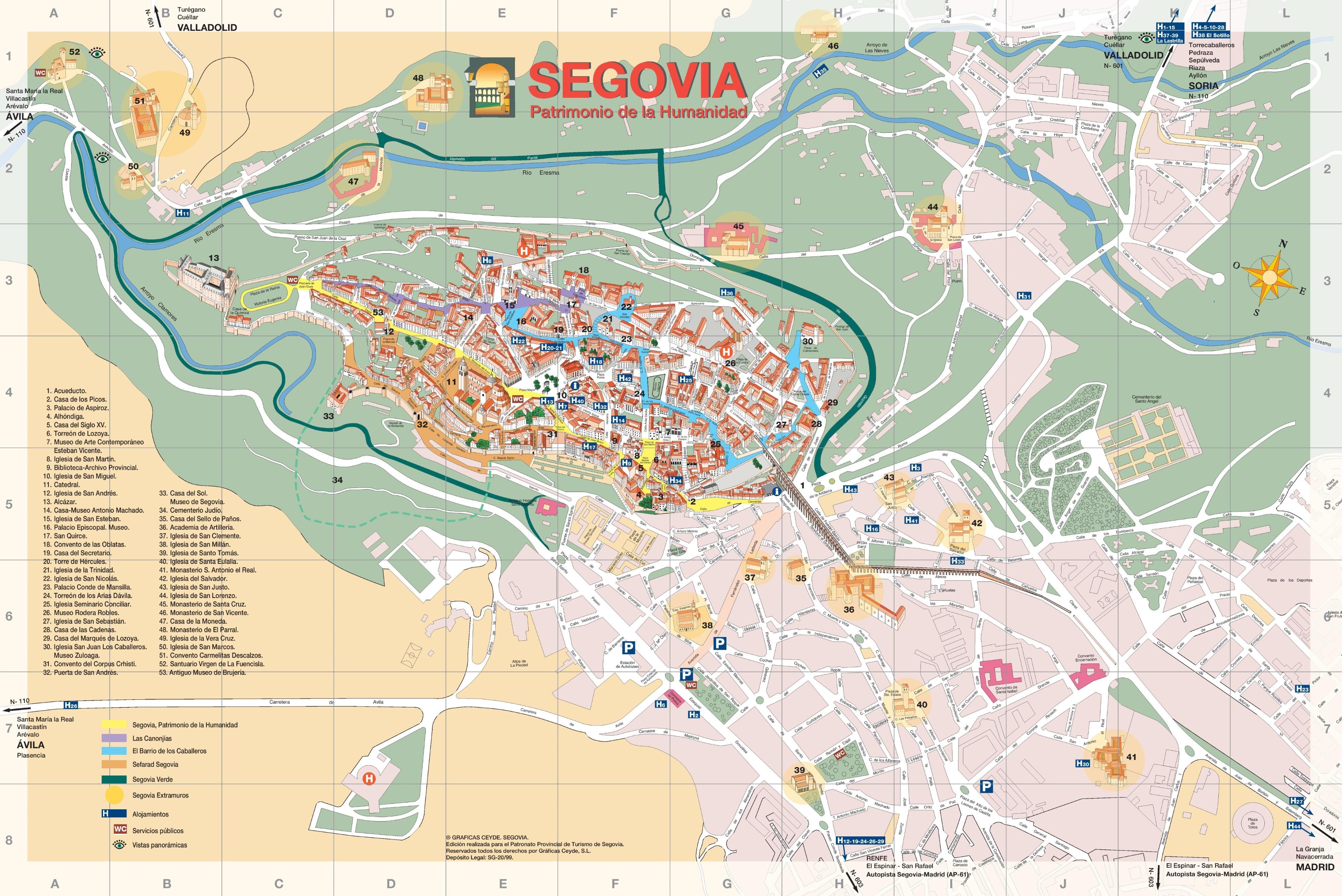 Segovia old city map