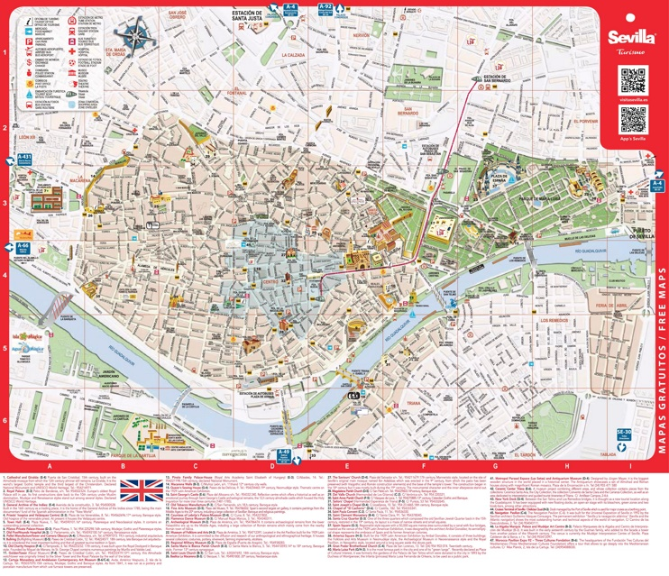 Large detailed tourist map of Seville