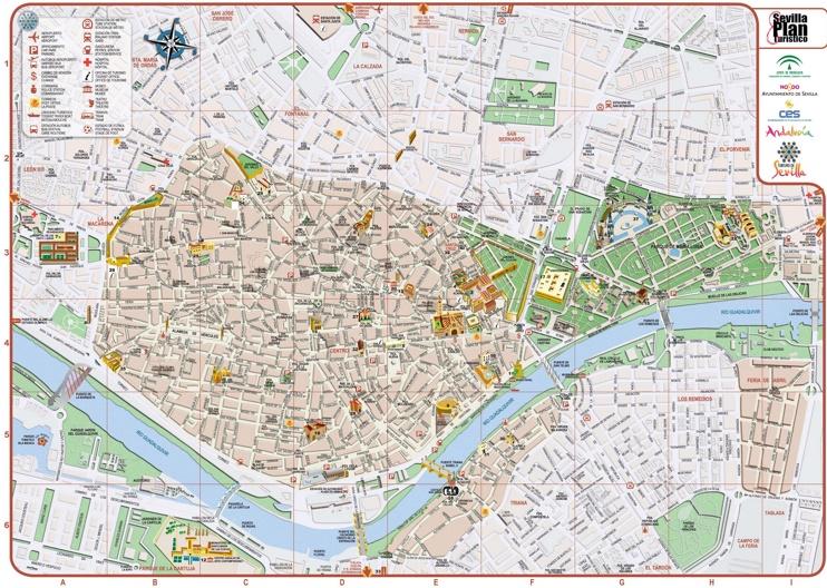Sevilla - Mapa del centro de la ciudad