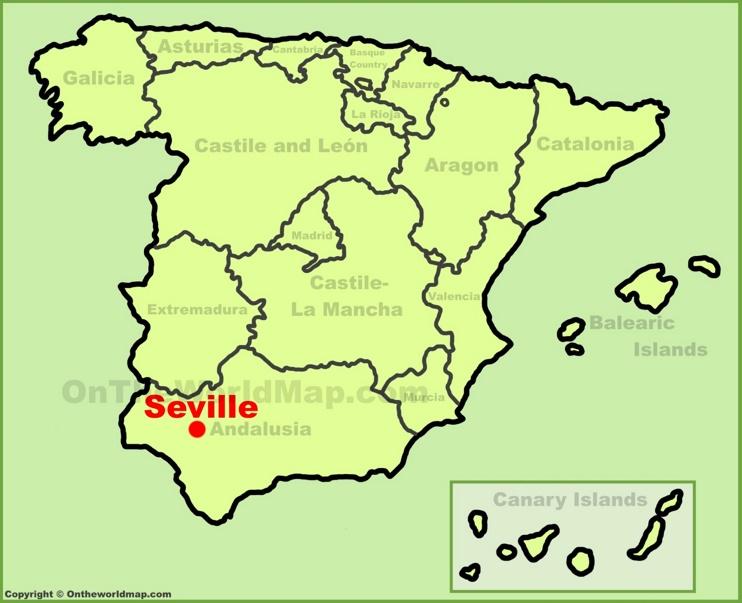 Sevilla en el mapa de España