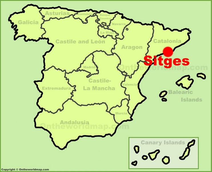 Sitges location on the Spain map