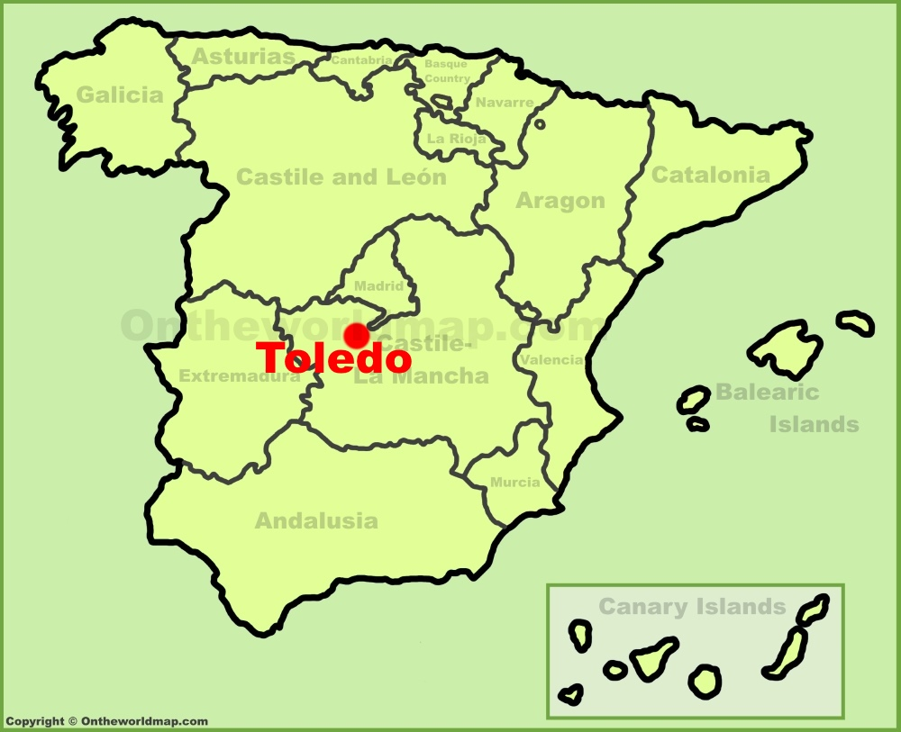 Toledo location on the Spain map