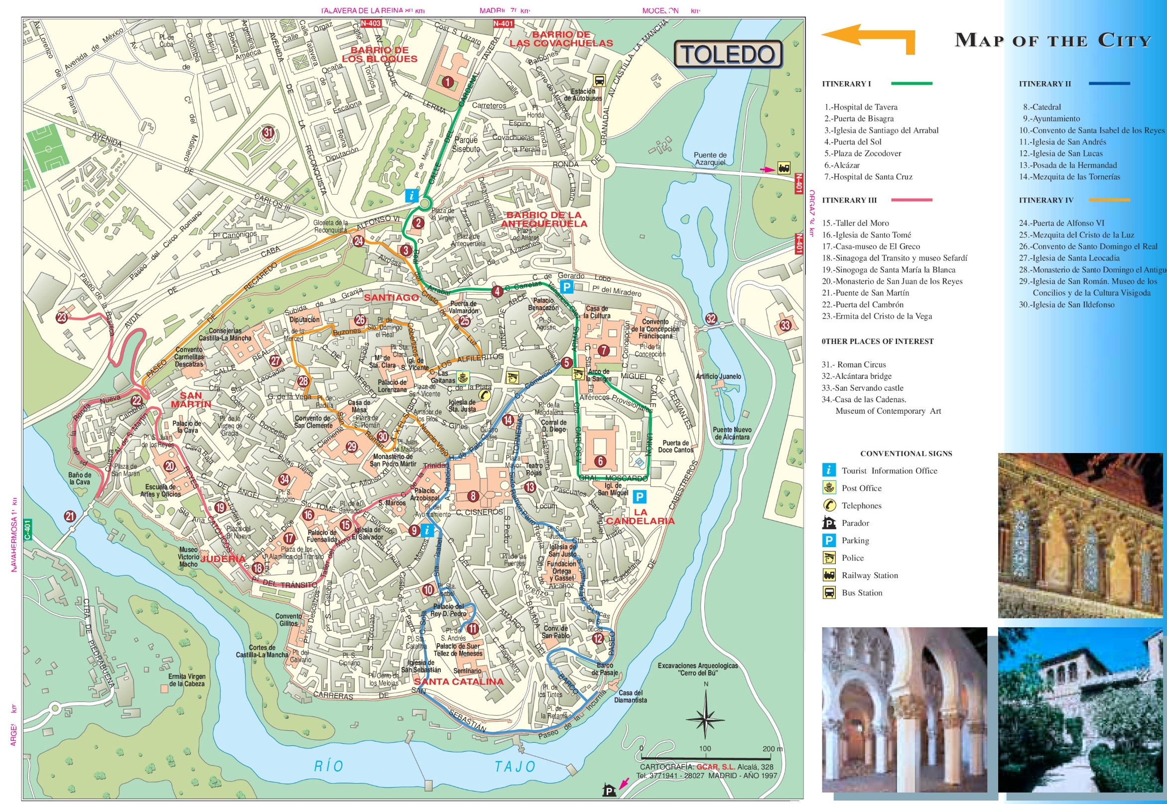 Map Of Spain For Tourists.Toledo Tourist Map
