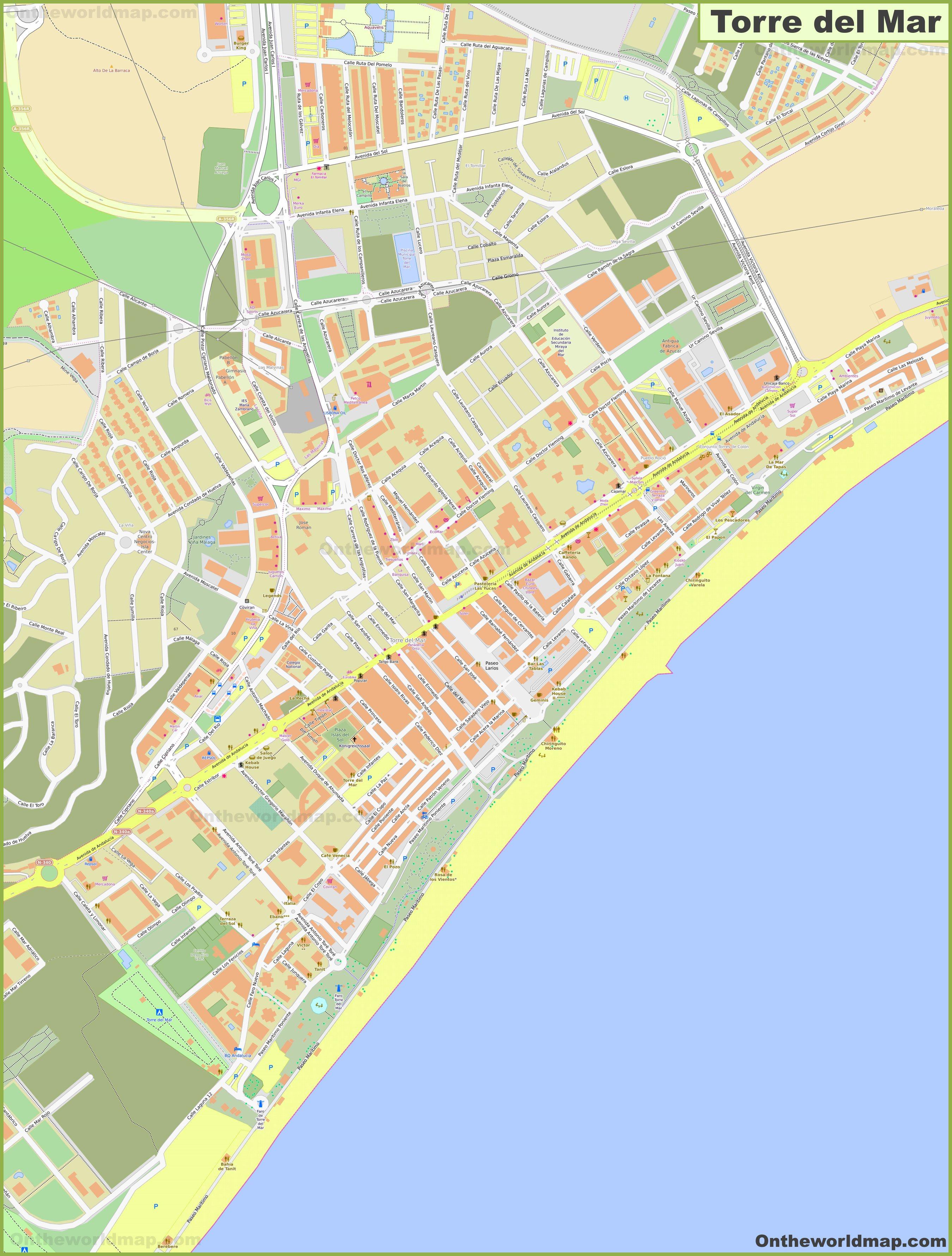 Mapa Torre Del Mar.Mapa Detallado De Torre Del Mar