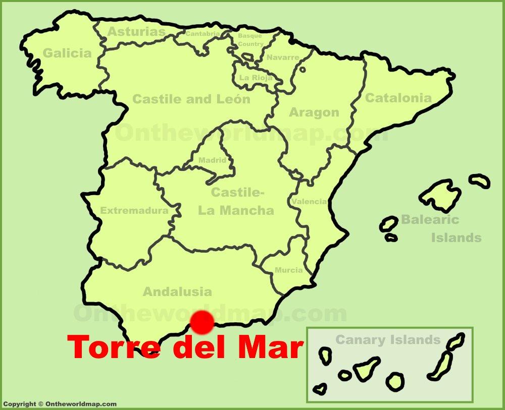 Mapa Torre Del Mar.Torre Del Mar En El Mapa De Espana