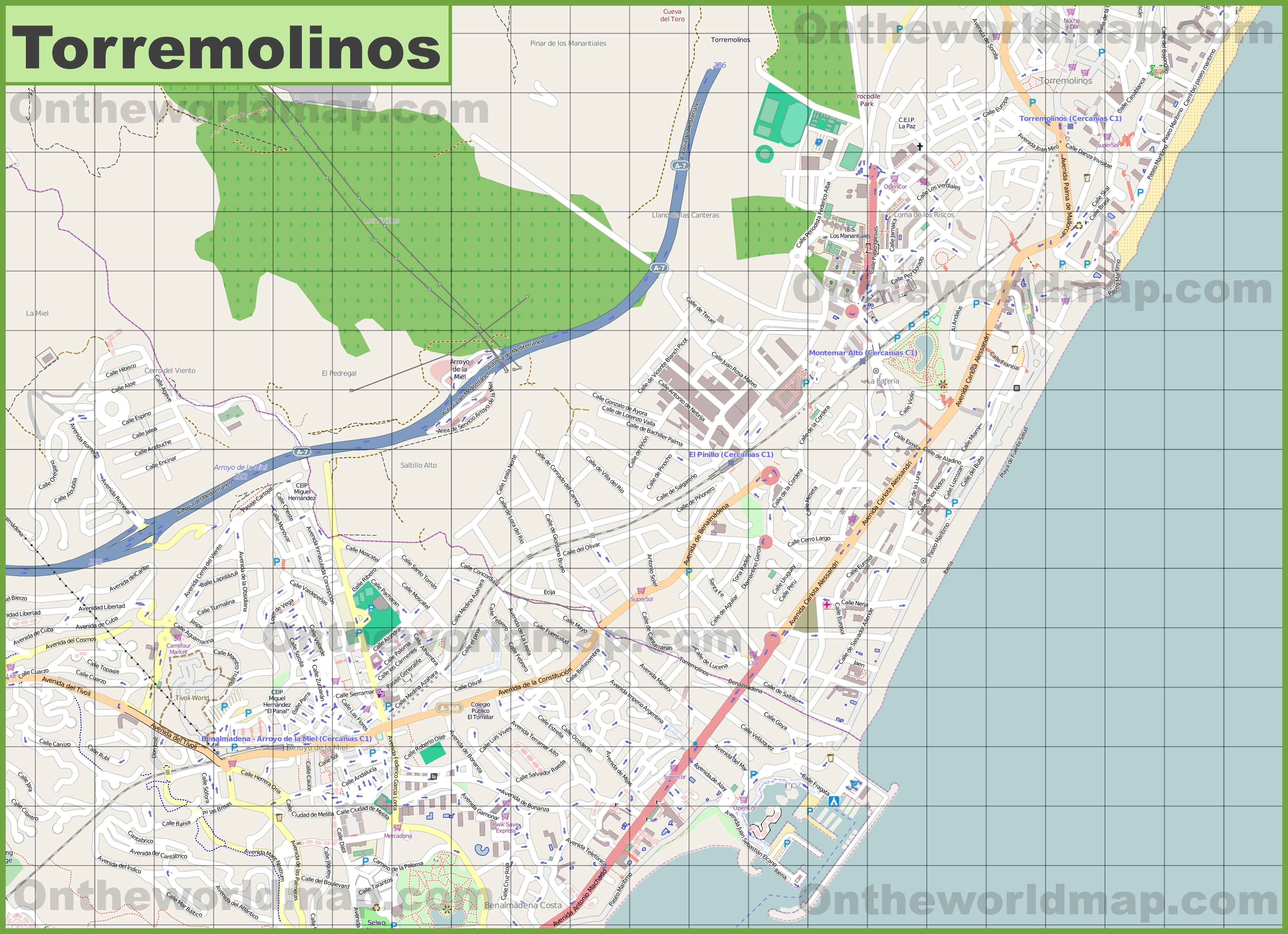 Cartina Torremolinos Spagna.Large Detailed Map Of Torremolinos
