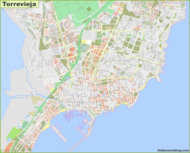 Detailed map of Torrevieja