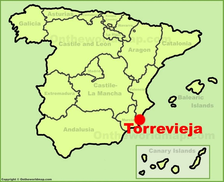 Torrevieja location on the Spain map