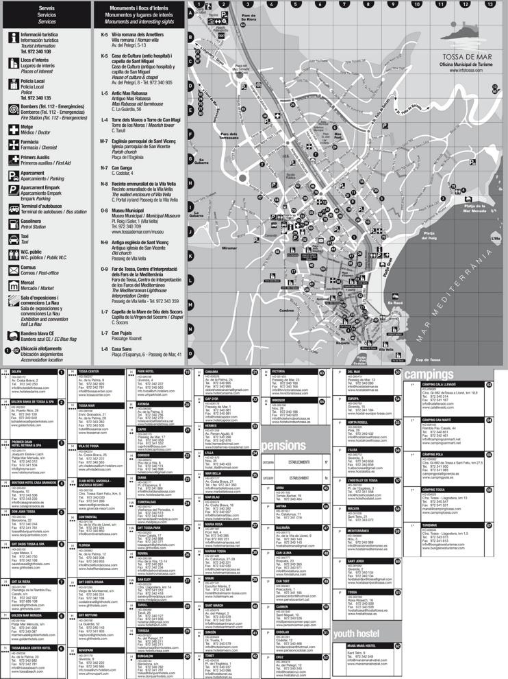 Tossa de Mar hotel map